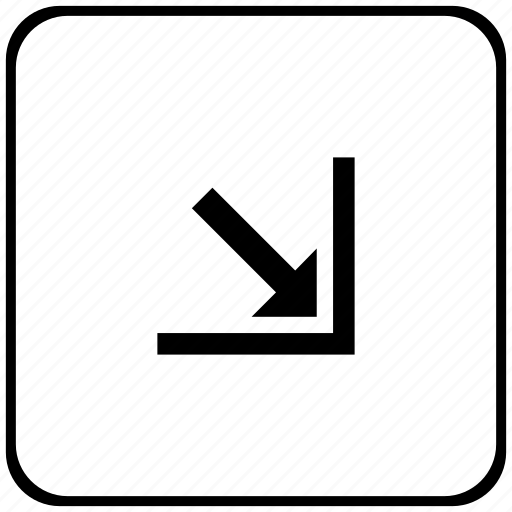 arrow, bottom, corner, function, key, right icon