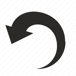 arrow, back, left, motion, rotate icon