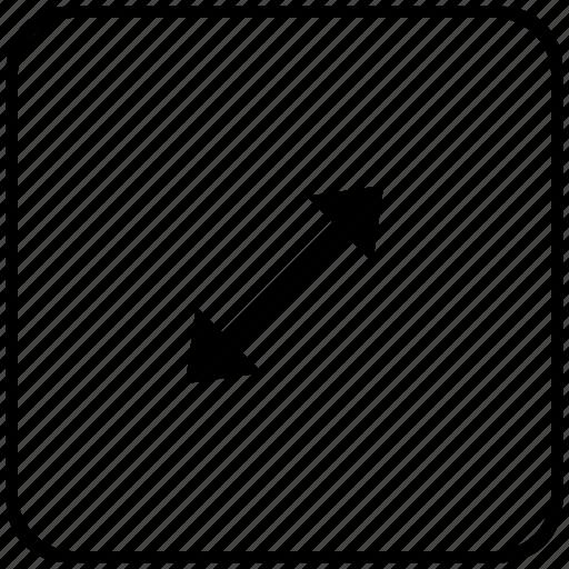 arrow, diagonal, function, key, measure, size icon