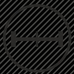 geometry, midpoint, segment, size, ui, width icon
