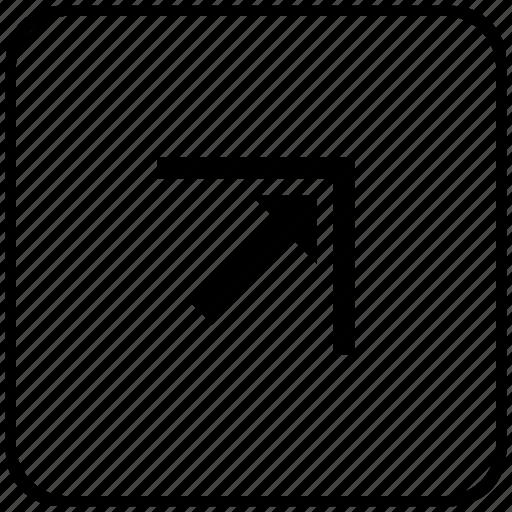 arrow, corner, function, key, right, top icon