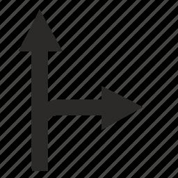 forward, motion, right, road, traffic icon