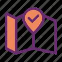 checkmark, done, location, map icon, pin