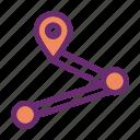 destination, navigation, path, route icon icon
