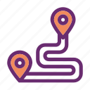 destination, road, route, travel icon icon