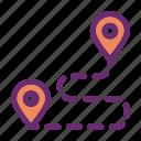 destination, location, pin, route, travel icon icon