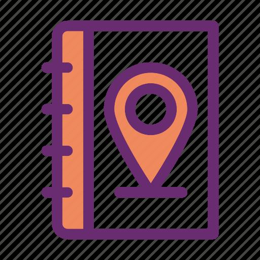 book, log, pin, road, travel icon icon