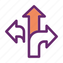 arrows, directions, navigation, path icon, turn