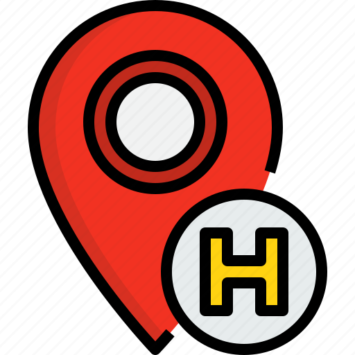 direction, hotel, navigator, placeholder, position, route, way icon