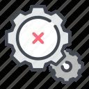 cogwheel, denied, gear, negative, options, rejection, result