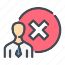 answer, denied, negative, person, rejection, result icon