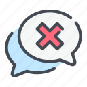 answer, chat, denied, message, negative, rejection, result icon