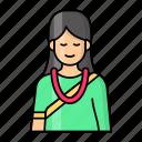 nepali, woman, traditional, asian, saree, necklace, elder