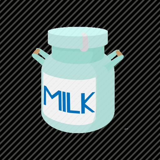 can, cartoon, container, handle, jar, metal, milk icon