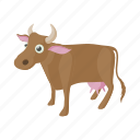 animal, cartoon, cow, dairy, domestic, farm, livestock icon