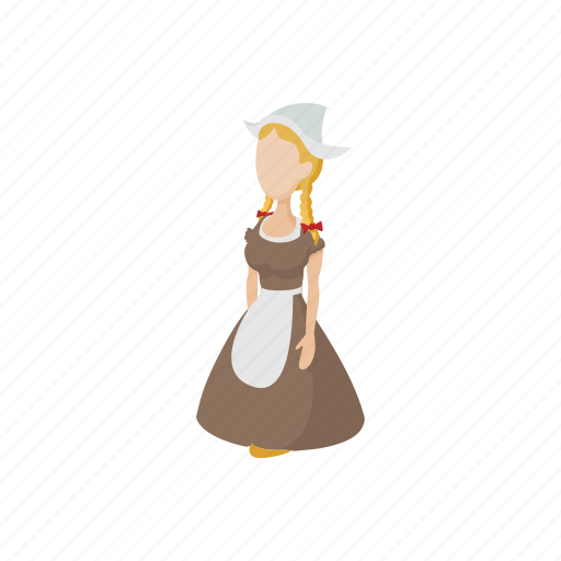 cartoon, costume, dress, girl, holland, netherlands, traditional icon