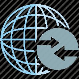 arrow, communication, data transfer, globe, web, www icon