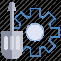 cog, fix, gear, screwdriver, setting icon