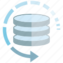 arrow, backup, data, data center, database, server icon