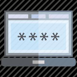 computer, laptop, password, secure icon