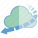arrow, cloud, internet, network, server icon