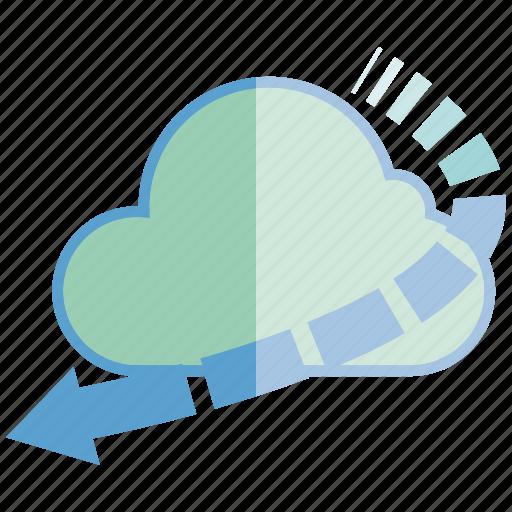 arrow, cloud, internet, network, server icon
