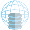 data center, database, globe, network, server, world icon