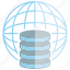 data center, database, globe, network, server, world icon