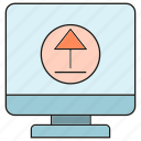 arrow, computer, upload icon