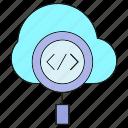 cloud, coding, debug, magnifier icon