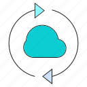 arrow, backup, cloud, network icon