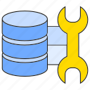 database, hosting, server, wrench icon