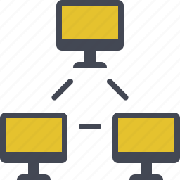 connection, intranet, monitors, network, office network, sharing icon