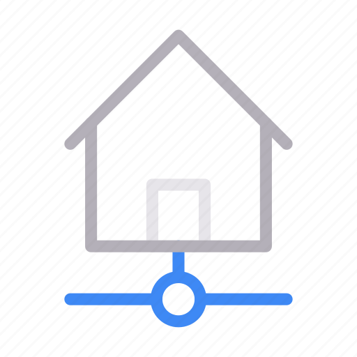 building, connection, home, house, network icon