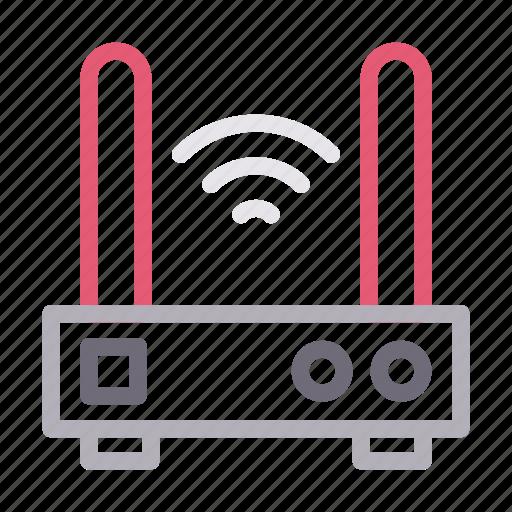antenna, modem, router, signal, wireless icon