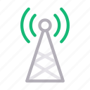broadcast, connection, signal, tower, wireless icon