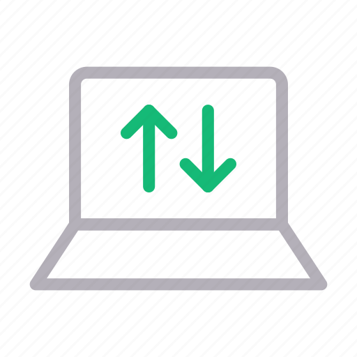 computer, download, laptop, transfer, upload icon