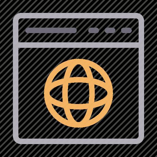 global, internet, online, webpage, window icon