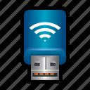 adaptor, connector, dongle, plug, thumb, wifi, wireless icon