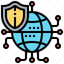 global, network, protect, security, shield icon