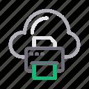 cloud, database, printer, server, storage