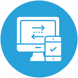 computer, data, device, mobile, phone, sync, transfer icon icon