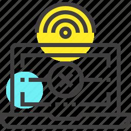 computer, connection, error, internet, lan, laptop, network icon