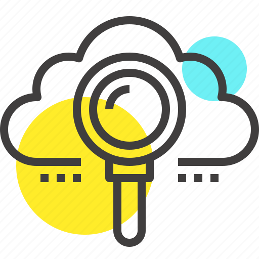 cloud, data, find, internet, magnifier, network, search icon