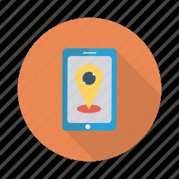 globe, gps, locate, mobile, phone, pin, telephone icon
