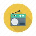 antenna, electricity, media, music, radio, signal, wireless icon