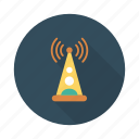 antenna, danger, internet, network, signal, warning, wireless icon