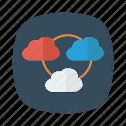 cloud, database, hosting, link, shared, socialmedia, weather icon