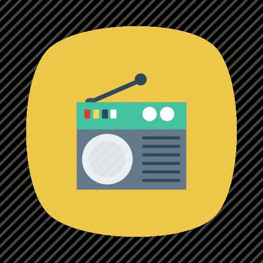 antenna, electricity, media, music, radio, signal, wireless icon