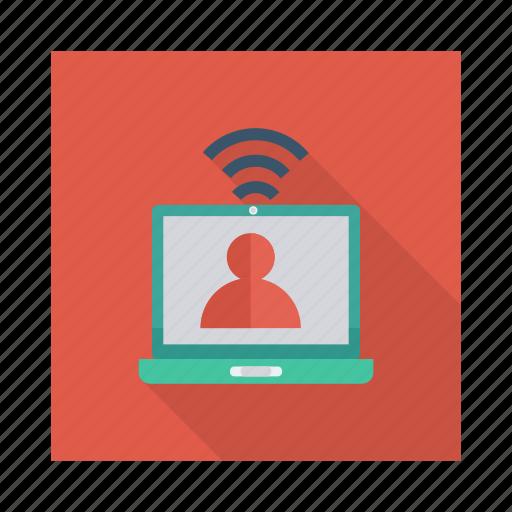 computer, device, laptop, monitor, person, profile, user icon